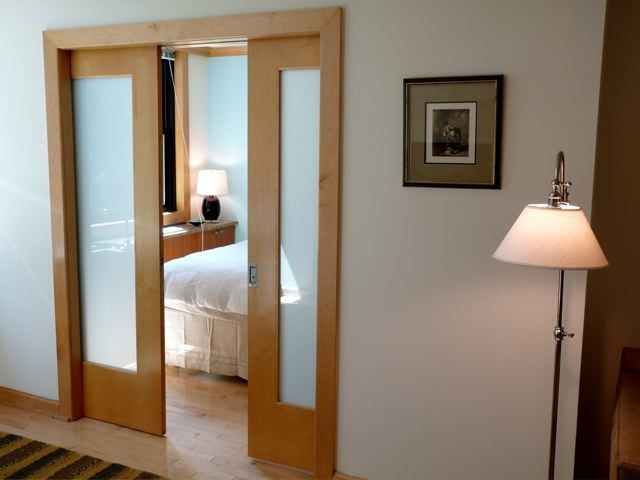 maple + frosted glass sliding doors