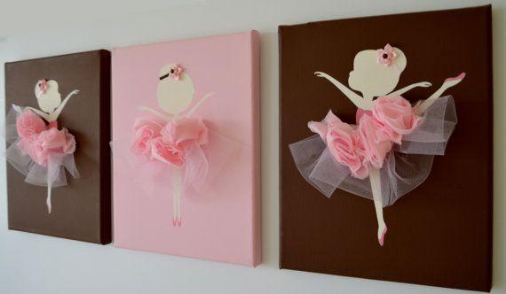 Dancing Ballerinas Wall Art. Set of three dancing ballerinas. on Etsy, $42.00