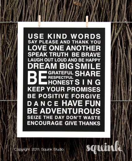 POSITIVE WORDS  PRINT  11 x 14  Black and white by SquinkStudio, $33.00