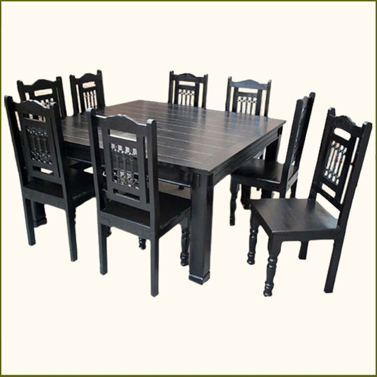 Solid Wood Transitional Style 9 Pc Black Dining Room Table U0026 Chair Set.