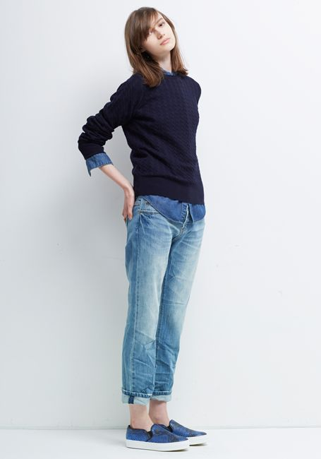 Le Ciel Bleu Cable Knit, Denim Shirt and Boyfriend Jeans by Essentials