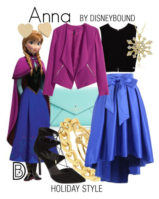 Anna by leslieakay on Polyvore featuring polyvore, fashion, style, Zara, H&M, Topshop, Kate Spade, Adele Marie, DB Designs, Gorjana, disney, disneybound and disneycharacter