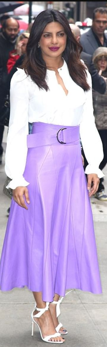 Priyanka Chopra wearing Derek Lam and Alexandre Birman