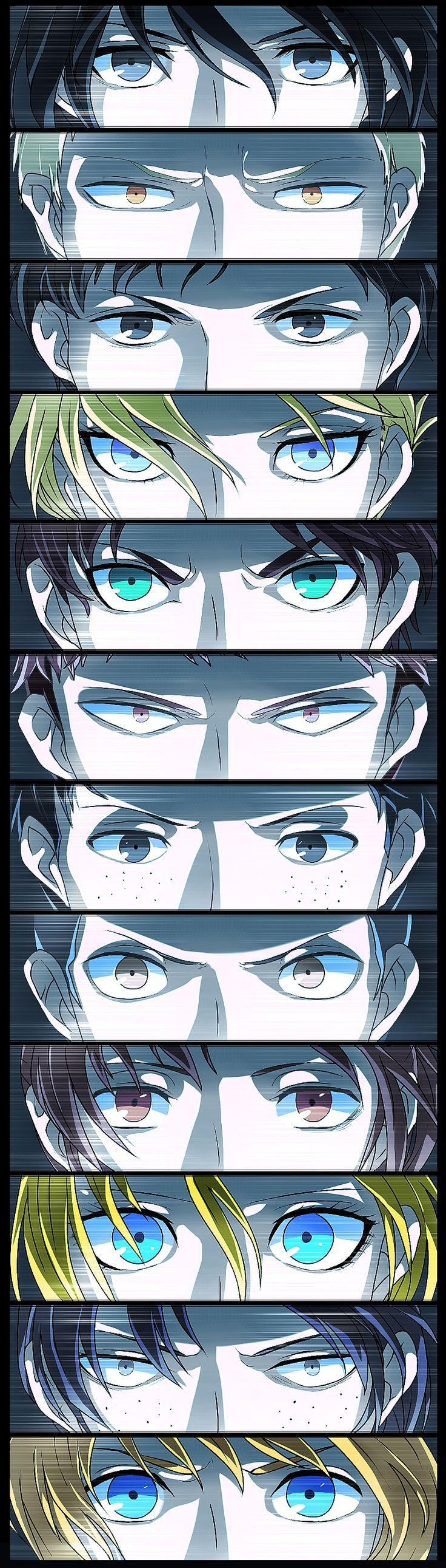 Attack on Titan- Mikasa, Reiner, Bertholdt, Annie, Eren, Jean, Marco, Connie, Sasha, Christa, Ymir, and Armin
