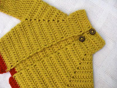 Baby Sweater free pattern. Not sure about those buttons up at the chin, but otherwise appears to be a do-able pattern.