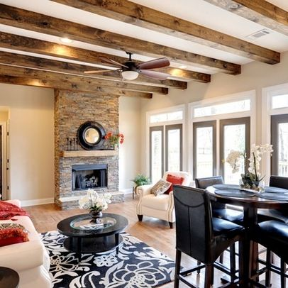 Beam Ceiling Great Room Design Ideas, Pictures, Remodel, and Decor