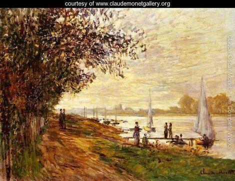 The Riverbank At Le Petit Gennevilliers  Sunset - Claude Oscar Monet - www.claudemonetgallery.org