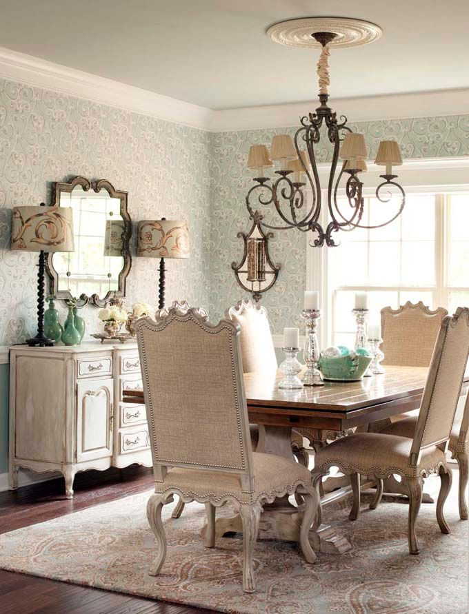 Burlap french country two tone trestle table sideboard for Beautiful dining room chandeliers