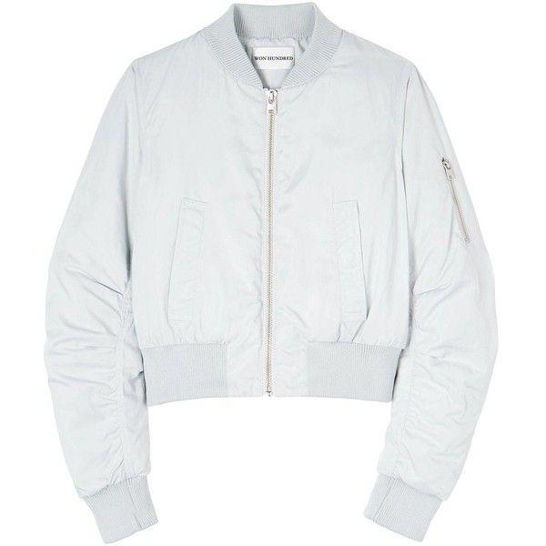 Won Hundred Mattie Bomber Jacket featuring polyvore, women's fashion, clothing, outerwear, jackets, tops, coats, Ð²ÐµÑ€Ñ Ð½ÑÑ одежда, grey, grey bomber jacket, gray bomber jacket, blouson jacket, bomber style jacket and short jacket