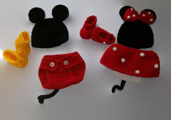 Handmade Baby Clothes - Twin Handmade  Clothing - Baby Mouse Costumes - Newborn Clothes - Crochet Baby Outifts