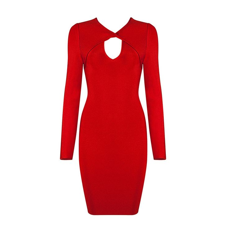 Free Shipping New Arrival 2017 Red White Black Cut Out Sexy Women's Long Sleeve Bandage Dress for New Year Party