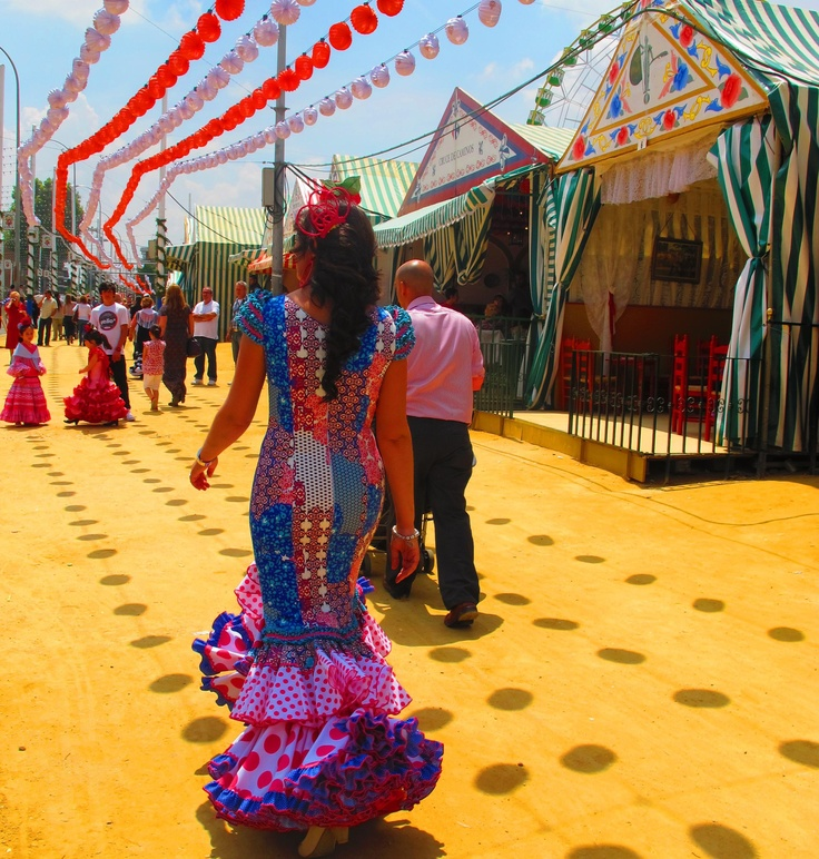 Feria de Sevilla, a colourful annual party of drinking and dancing.