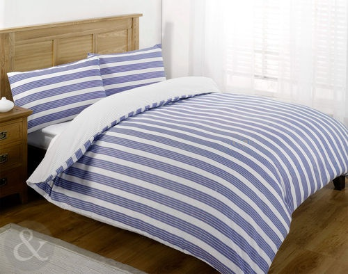 NAUTICAL BEDDING Luxury Poly Cotton DUVET COVER SET Striped Bed Quilt Cover Sets | eBay