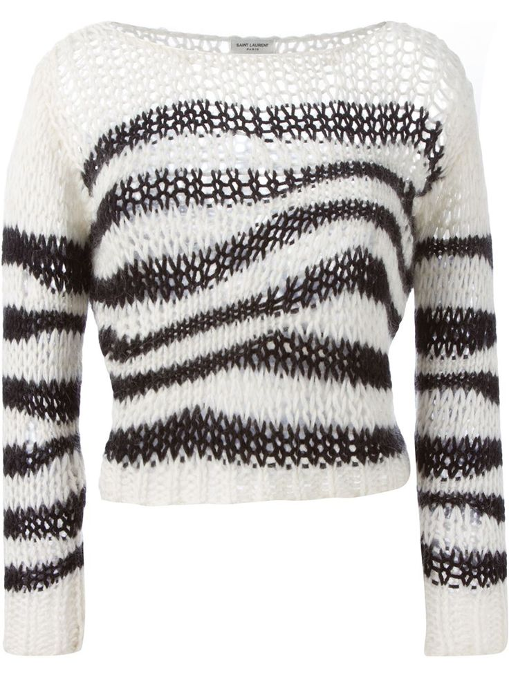 Shop Saint Laurent striped open knit sweater in Boutique Mantovani from the world's best independent boutiques at farfetch.com. Shop 300 boutiques at one address.