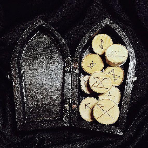 elder futhark bind rune magnets in black coffin box by DarkRituals