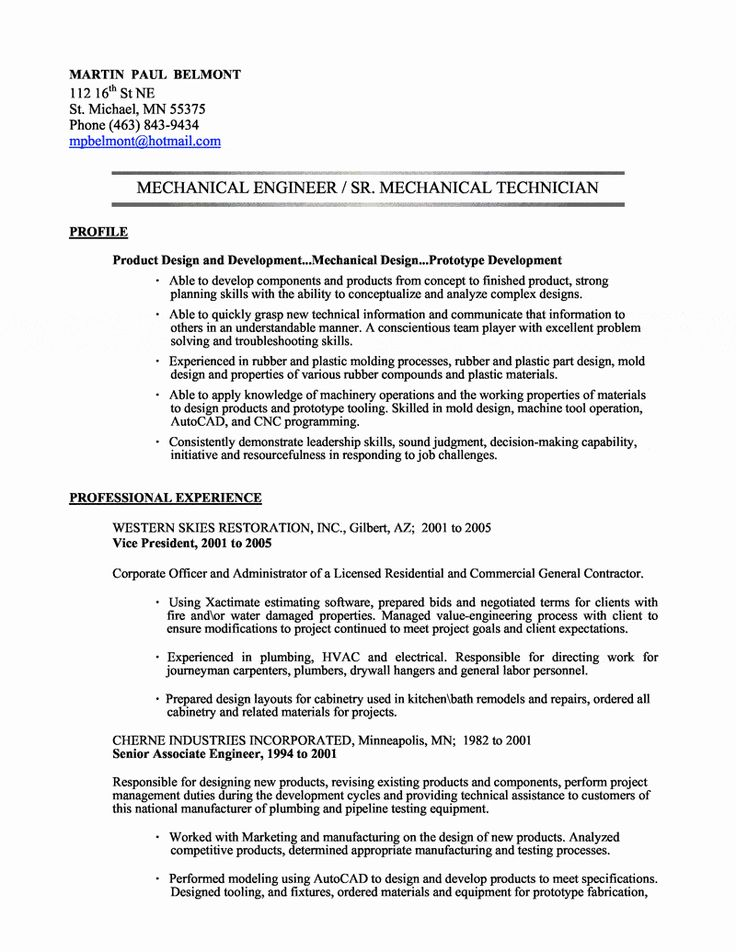 Mechanical Engineer Resume Sample Luxury Mechanical
