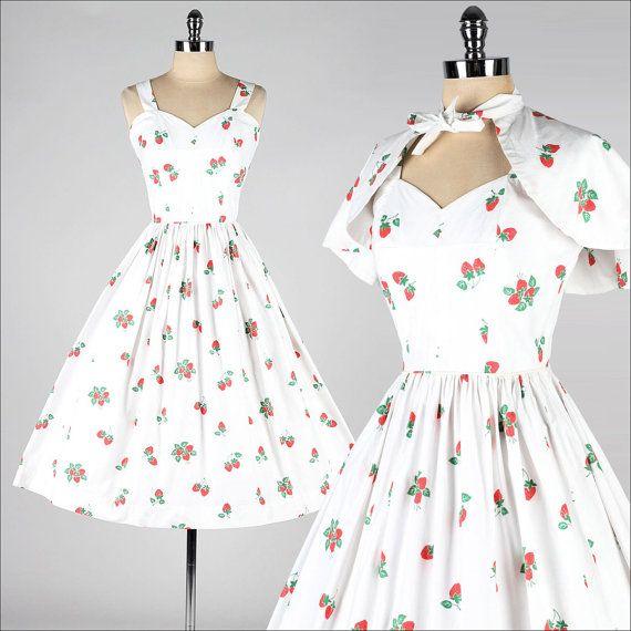 vintage+1950s+dress+.+white+cotton+.+por+millstreetvintage+en+Etsy,+$235.00