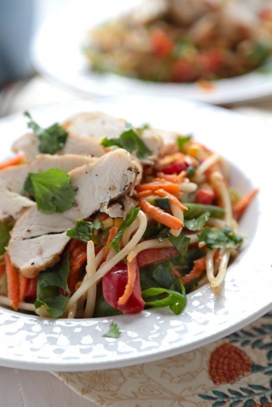 Grilled Chicken (tofu) Peanut Asian Salad by countrycleaver #Salad #Chicken #Asian #Healthy