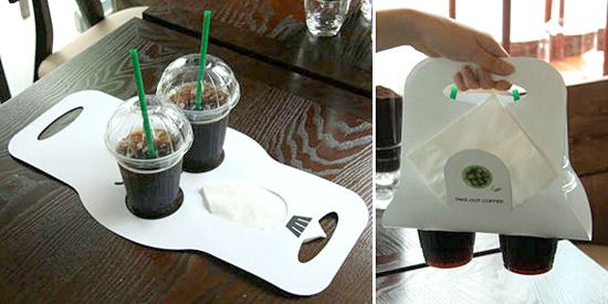 Insanely Smart| This cup holder is a flat piece  of light-weight cardboard that folds into a cup holder. What an efficient way to transport your beverages!