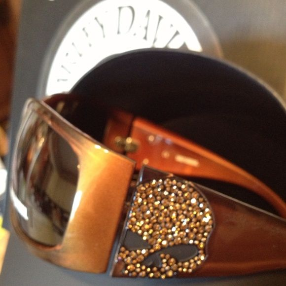 BROWN BLING SKULL Harley-Davidson Glasses NWT Simply Stunning BROWN BLING SKULL Harley-Davidson Riding Glasses NWT NIB Includes leather case and micro cleaning cloth. Make that statement today! Harley-Davidson Accessories Glasses