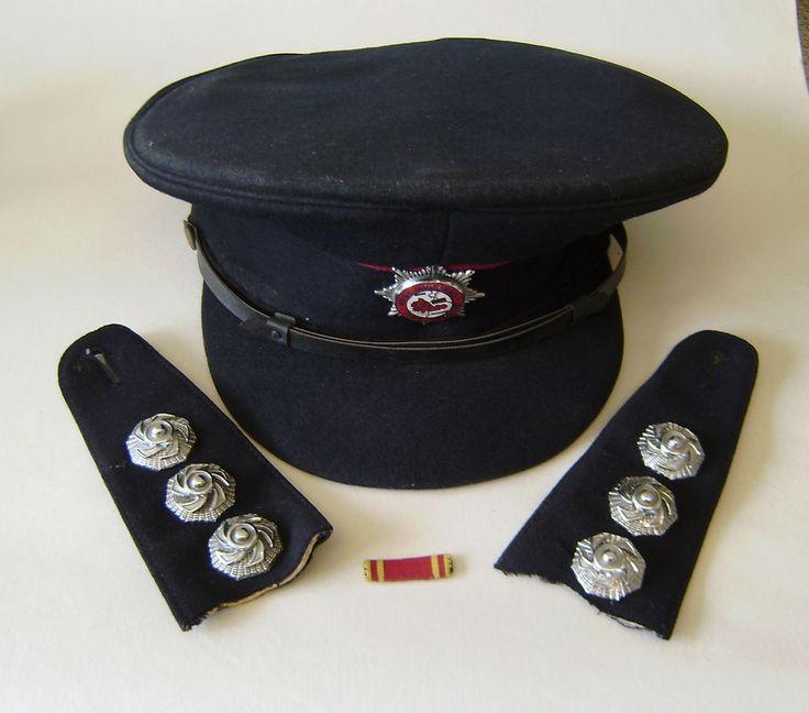 Firemans Peak Cap &badge west midlands 2 commanders shoulder boards long service