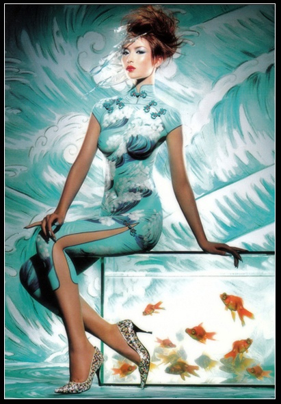 MAC Cosmetics Qi Pao Body Painting_China Launch. Body Painting Artist: Jeannette Rhodes