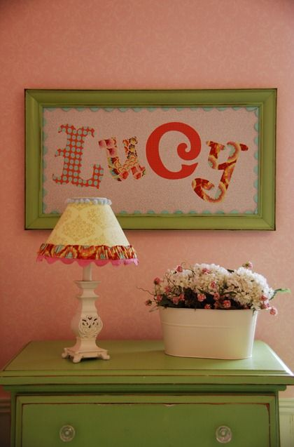 cute fabric name sign: Fabrics Letters, Paper Letters, Names Frames, Cute Ideas, Frames Fabrics, Scrapbook Paper, Names Art, Girls Rooms, Kids Rooms