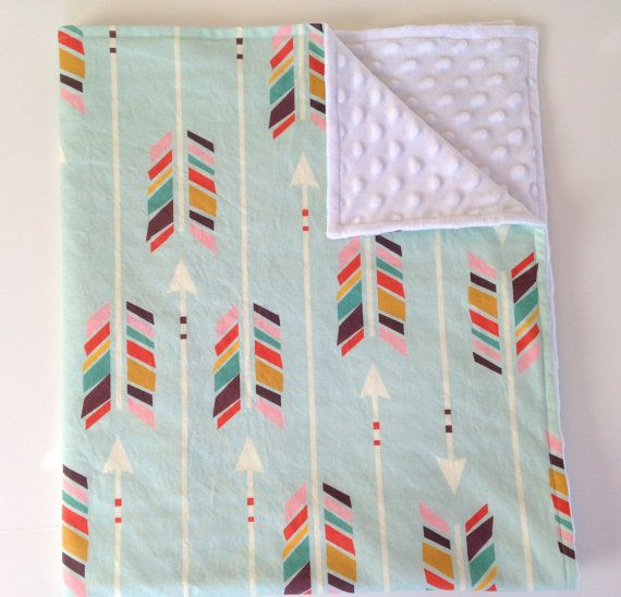 Minky baby blanket - mint rainbow arrows chevron feathers aqua Aztec - gender neutral - modern baby shower gift - ready to ship