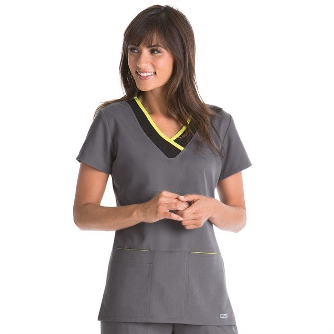 Greys Anatomy Color Block V-Neck Top - Uniform City