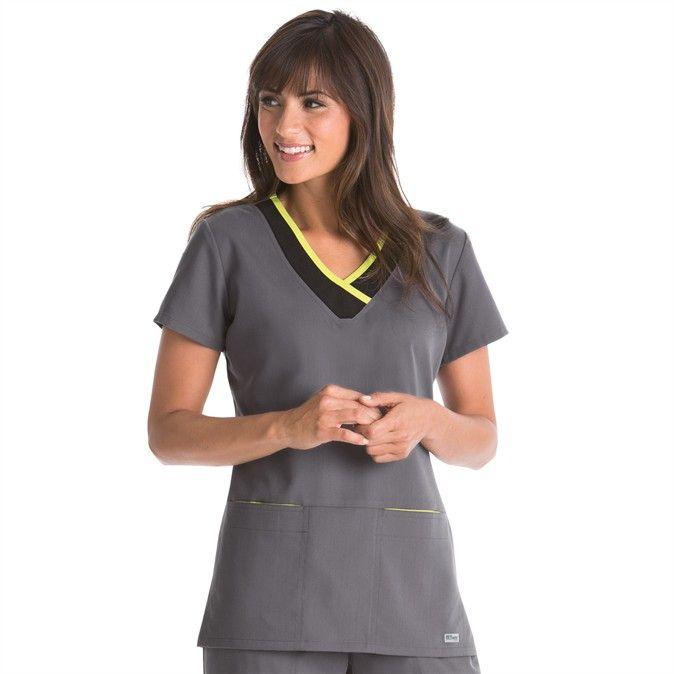 Greys Anatomy Color Block V-Neck Top - Uniform City