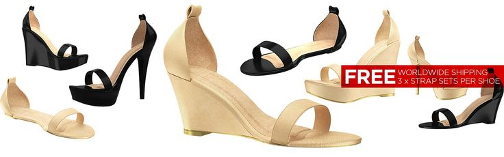 There are 4 STYLES in black & nude. And the first 3 straps you choose for each pair of shoes you buy are FREE