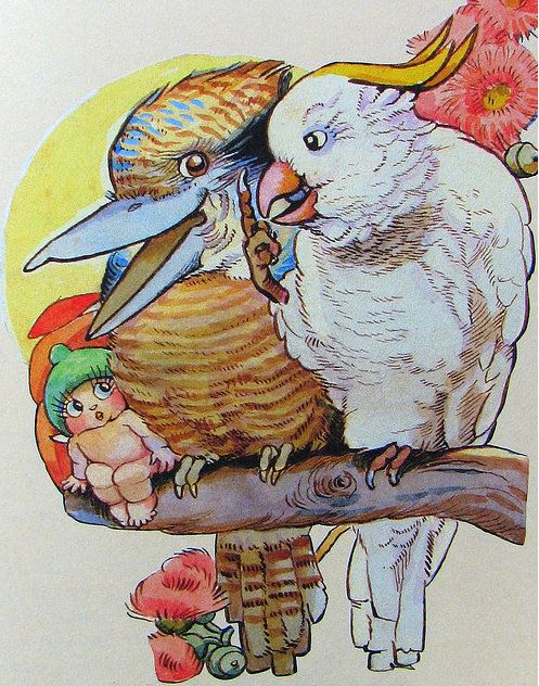 May Gibbs:Snugglpot with a Kookaburra and a White Cockatoo.