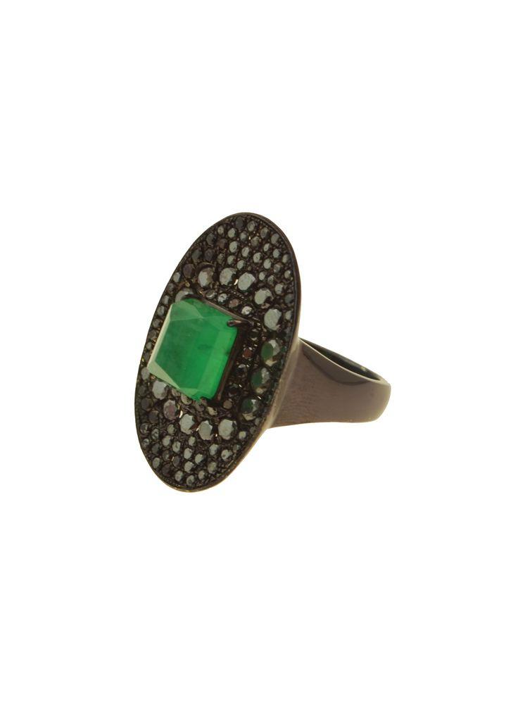 Gold K18 Black Diamonds & Emerald