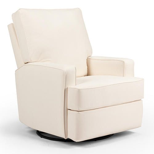 "Lean back with your little one on this plush swivel glider recliner. Square, ""track styled"" arms and a rounded back create a soft, inviting design for your transitional-style nursery, while premium cushioning fibers keep you and your youngin feeling cozy and supported. Contrast cording enhances the clean lines and adds detail. This recliner is made of dry-kilned, solid hardwood frame parts, reinforced joints and a heavy-duty steel mechanism. Made in the USA."