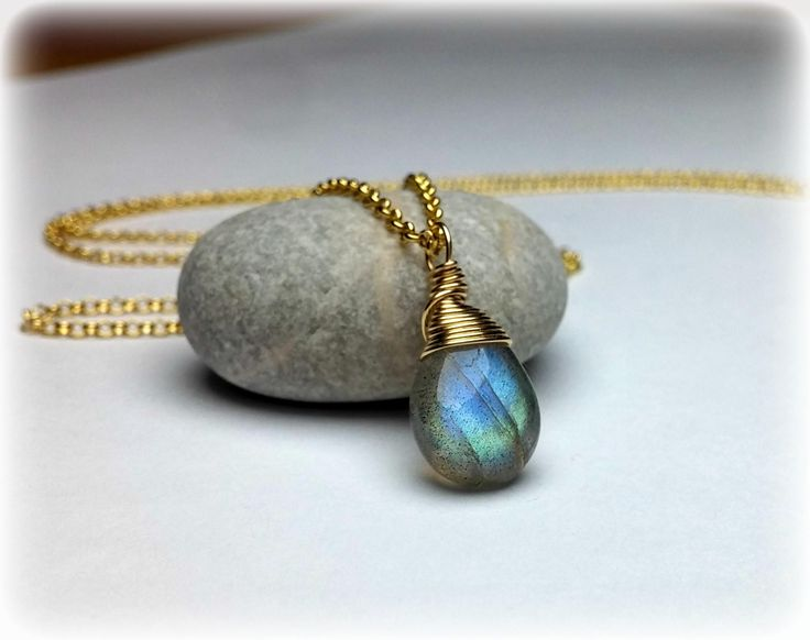 Wire wrapped Labradorite Necklace, Gold Necklace, Gemstone Necklace, Handmade Jewelry, Dainty Labradorite Pendant, Mothers Gift For Her by KarousosJewelry on Etsy