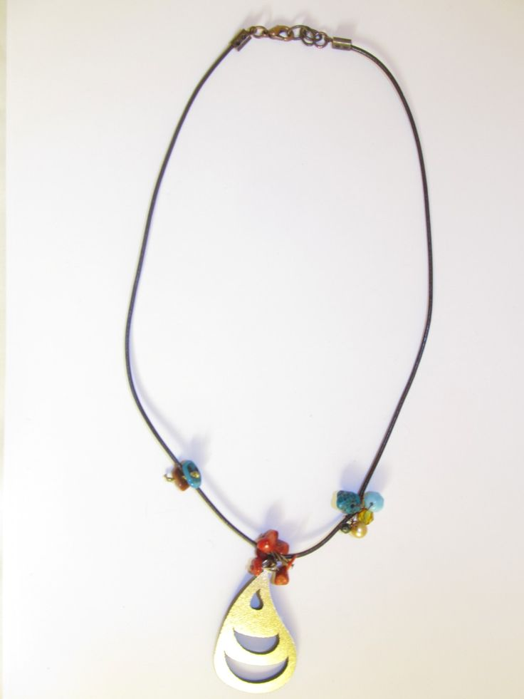Handmade short leather necklace (1 pc)  Made with leather filigree, leather cord, freshwater pearl, corals, turquoise and glass beads.