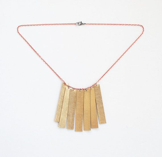 Valentine's Day gold necklace leather necklace by elfinadesign