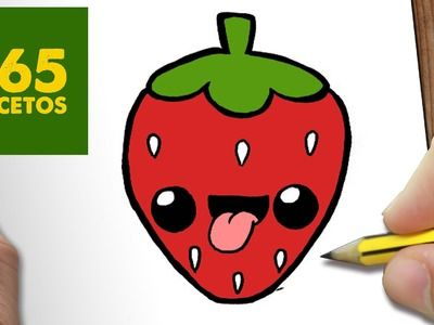 COMO DIBUJAR FRESA KAWAII PASO A PASO - Dibujos kawaii faciles - How to draw a STRAWBERRY