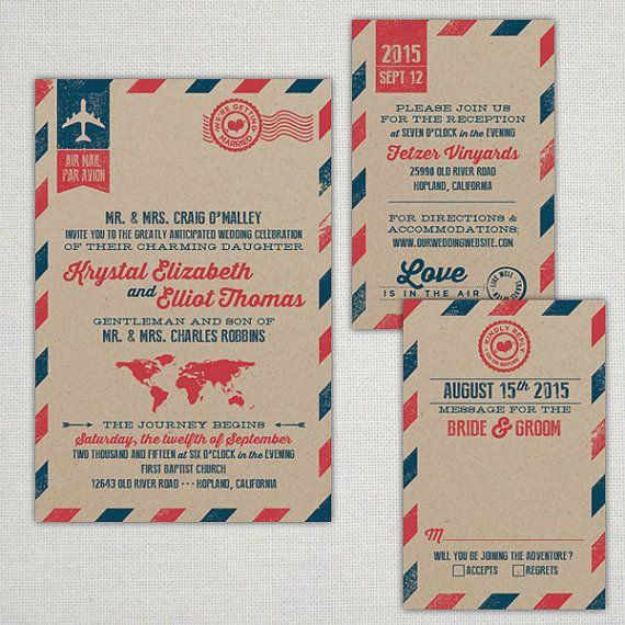 """Custom """"Love is in the Air"""" Vintage Air Mail Wedding Invitations on Etsy, $4.95"""