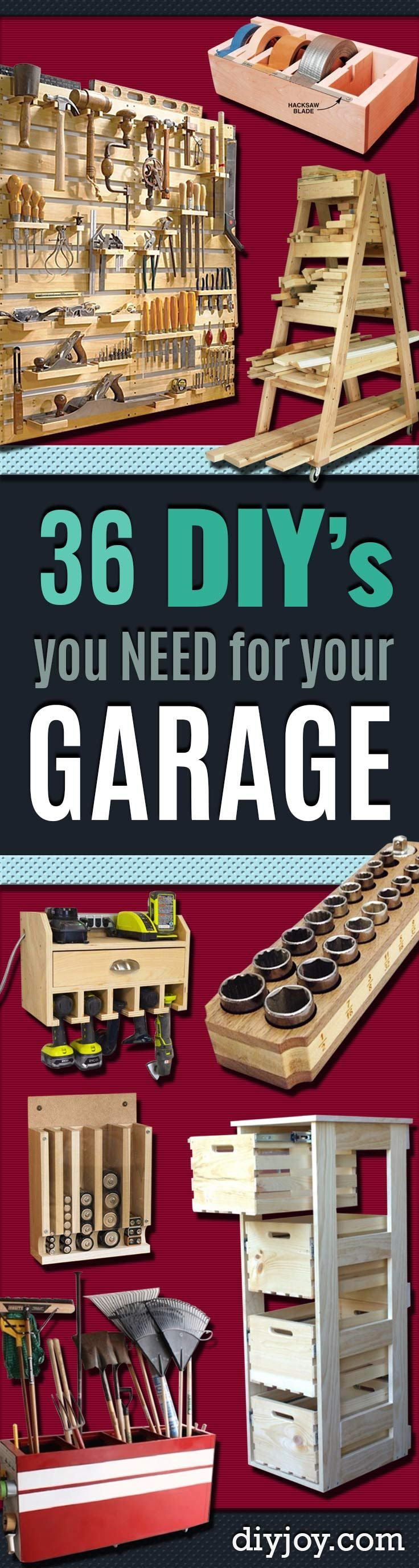 #woodworkingplans #woodworking #woodworkingprojects DIY Projects Your Garage Needs -Do It Yourself Garage Makeover Ideas Include Storage, Organization, Shelves, and Project Plans for Cool New Garage Decor diyjoy.com/...