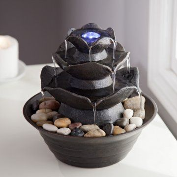 http://diy-gardensupplies.com/Stone resin construction in tiered style No plumbing necessary; water circulates throughout Built-in illumination and easy-to-use pump Ideal for indoor or outdoor use Dimensions: 8.9 diam. x 8.4H inches