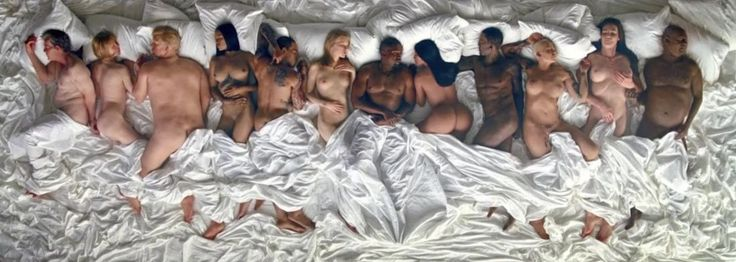 """Kanye West Put A Topless Taylor Swift In His """"Famous"""" Video #refinery29  http://www.refinery29.com/2016/06/114998/kanye-west-naked-celebs-famous-music-video"""