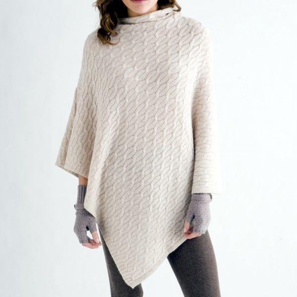 Kinross Cashmere Luxe Cable Poncho