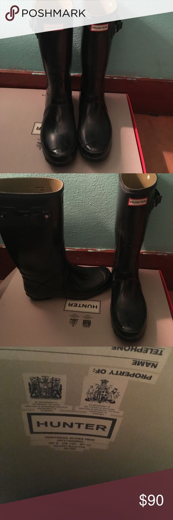 Hunter boots Comes with original box. Look new. I am reposhing because they are too big on me. They're size 10, tall, with a wide calf. Hunter Shoes Winter & Rain Boots