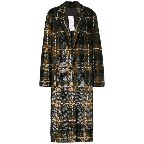 Ashish Sequin plaid oversized coat ($3,340) ❤ liked on Polyvore featuring outerwear, coats, brown, plaid coat, tartan coat, sequin coat, ashish and brown coat