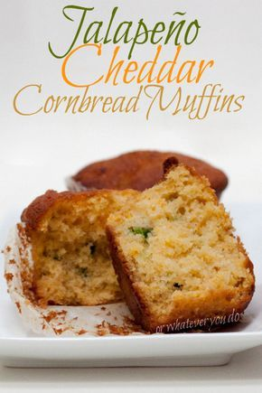 Jalapeno Cheddar Cornbread Muffins I www.OrWhateverYouDo.com - didn't use two jalapeños. Try 2 next time. All liked. Made mini muffins - 42. Cooked 17 minutes. Tasty.