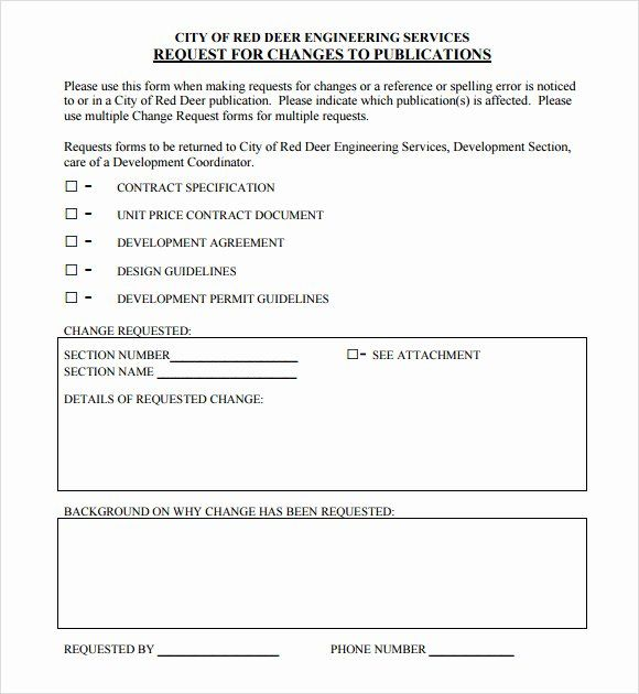Change Request Form Template Excel Luxury Sample Change Request 7