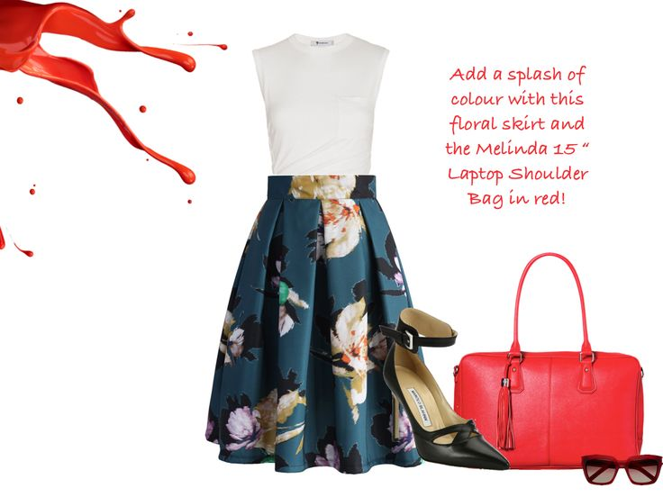 Pair back this gorgeous floral skirt with our red Melinda 17 inch Laptop Shoulder Bag, black pumps and sunnies for a red hot office outfit.