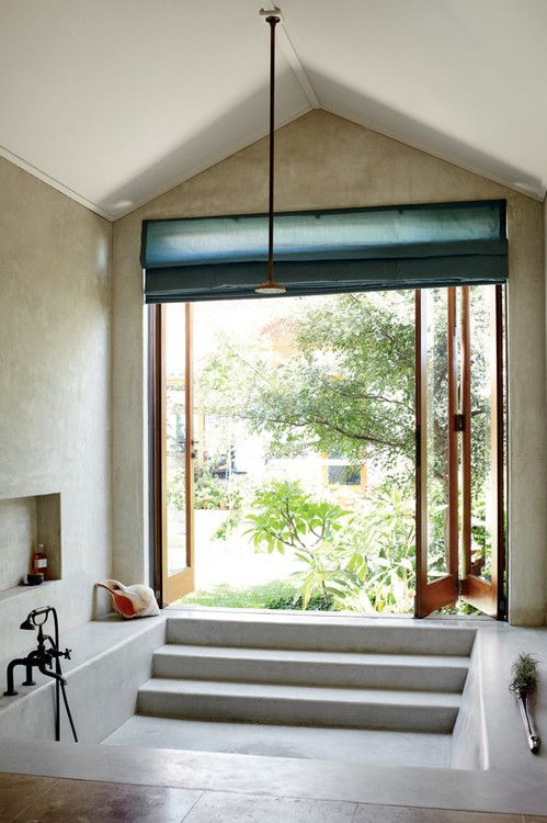 Soaking tub with garden view