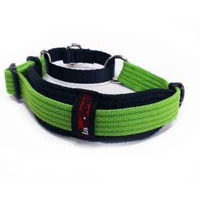 Whippet Collar - Two Tone - 38mm wide collar pad (Black) - adjustable from 28 to 36 cm.   Black Dog has worked with Whippet breeders to scale down our sighthound design and produce this elegant and practical collar specifically for the breed.   The Whippet Collar has a wide, tapered neck pad in Black Contrast webbing and a tightening action for security, so your dog can't slip its collar.